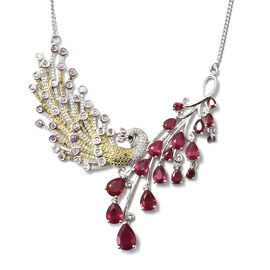 African Ruby (Pear), Multi Gem Stone and Diamond Necklace (Size 18) in Platinum Overlay with Green P