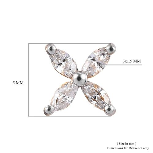 J Francis 14K Gold Overlay Sterling Silver Made with SWAROVSKI ZIRCONIA 4-Petal Flower Earring (with Push Back) 0.50 Ct.