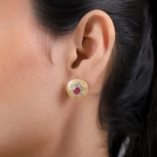 GP Italian Garden Leaf and Flower - African Ruby, Natural Cambodian Zircon and Blue Sapphire Stud Earrings in 14K Gold Overlay Sterling Silver 1.87 Ct.