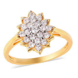 ELANZA Simulated Diamond Floral Cluster Ring in Two Tone Plated Sterling Silver