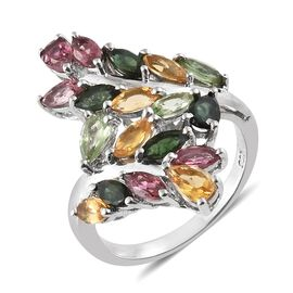 Rainbow Tourmaline (Pear and Mrq) Ring (Size S) in Platinum Overlay Sterling Silver 2.750 Ct.