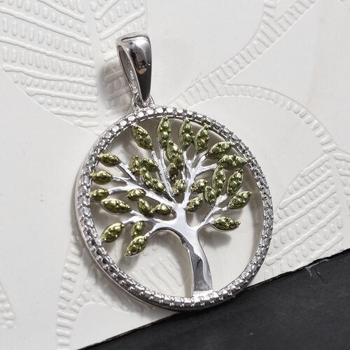 Green Diamond (Rnd) Tree of Life Pendant in Platinum and Green Overlay Sterling Silver