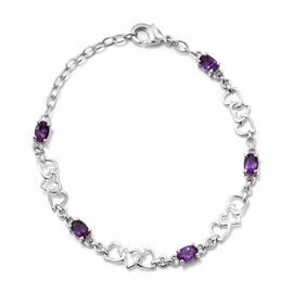 Amethyst (Ovl) Heart Bracelet (Size 7.5) in Platinum Plated 2.250 Ct.