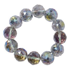 Mystic Topaz Colour Crystal (Rnd 17-19mm) Faceted Beads Stretchable Bracelet (Size 6.0)