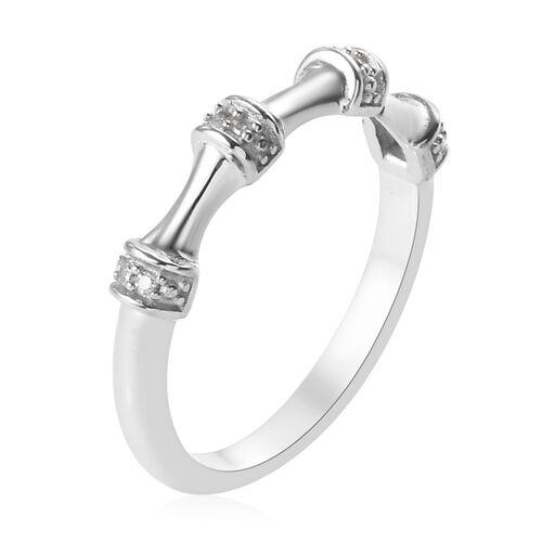 Diamond (Rnd) Ring in Platinum Overlay Sterling Silver 0.03 Ct.