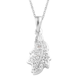 Diamond Platinum Overlay Sterling Silver Pendant With Chain  0.050  Ct.