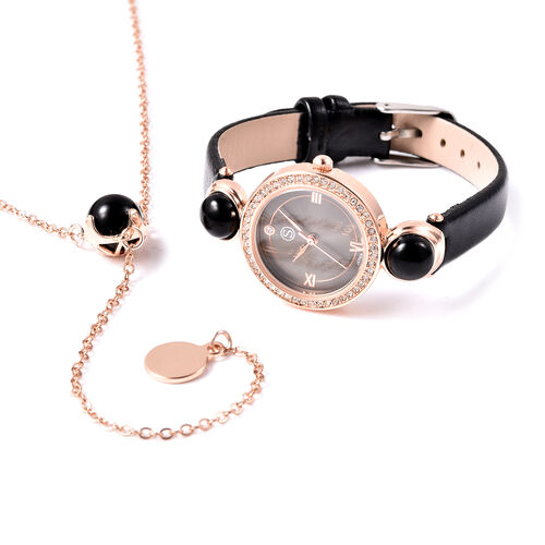2 Piece Set - STRADA Japanese Movement Black Onyx and White Austrian Crystal Studded Water Resistant