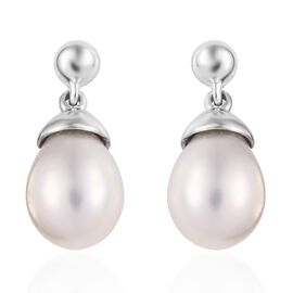 Fresh Water Pearl (6.00 Ct) 9K W Gold Earring  6.000  Ct.