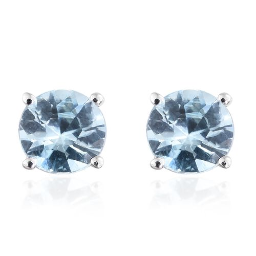 1.25 Ct AA Blue Zircon Solitaire Stud Earrings in 9K White Gold