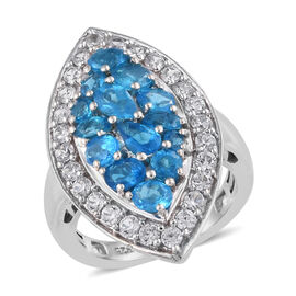 2.75 Ct Neon Apatite and Cambodian Zircon Cluster Ring in Platinum Plated Sterling Silver 5.5 Grams