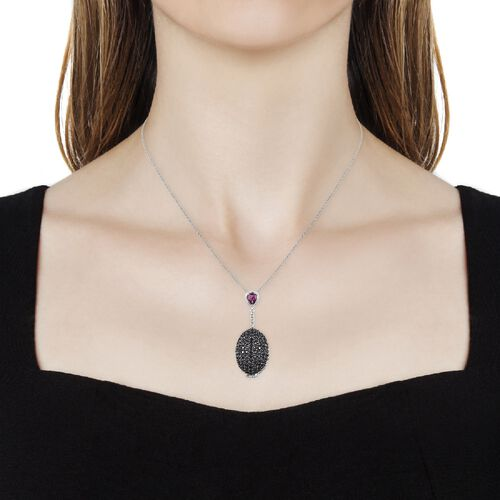 GP Boi Ploi Black Spinel (Rnd), Rhodolite Garnet and Blue Sapphire Locket Pendant With Chain (Size 30) in Platinum Overlay Sterling Silver 14.750 Ct. Silver wt. 18.00 Gms. Number of Gemstones 233