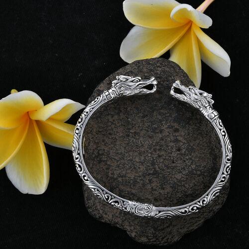 Royal Bali Collection Sterling Silver Dragon Head Cuff Bangle (Size 7.5), Silver wt 28.00 Gms