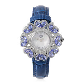 EON 1962 Swiss Movement Tanzanite and Diamond Water Resistant Watch with White Mother of Pearl Dial
