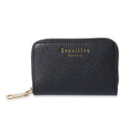 Sencillez - Genuine Leather Card Holder RFID Wallet with Zipper Closure (Size 11x2x7cm) - Black