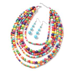 2 Piece Set Multi Colour Howlite Multi Row Necklace (Size 18 with 2 inch Extender) and Hook Earrings