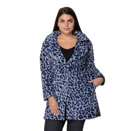 Leopard Print Faux Fur Winter Long Sleeve Coat in Blue and Grey
