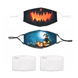 Set of 2 - Washable and Reusable Double Layer Halloween Black Pumpkin/Teal Pumpkin Face Covering wit