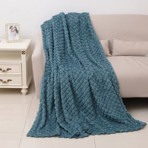TJC Season Launch  - Supersoft Fine Micro-Blue Colour Mink Blanket with Matching Colour Sherpa BACKI
