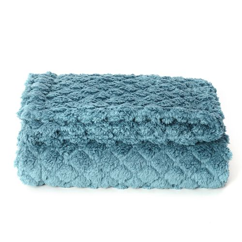 TJC Season Launch  - Supersoft Fine Micro-Blue Colour Mink Blanket with Matching Colour Sherpa BACKING and Ultrasonic Quilting in Colour  (Double Bed - 150x200 Cm)