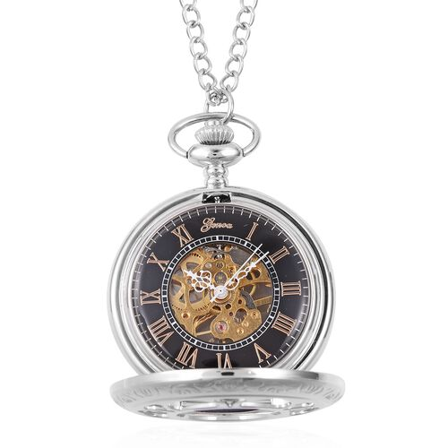GENOA Automatic Skeleton Water Resistant Pocket Watch with Chain in Silver Tone