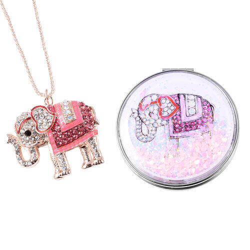 Set of 2 - Pink and Multi Colour Austrian Crystal Enamelled Elephant Pendant with Chain (Size 28 wit
