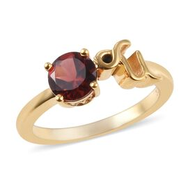 AA Mozambique Garnet Zodiac-Capricorn Ring in 14K Gold Overlay Sterling Silver 1.05 Ct.