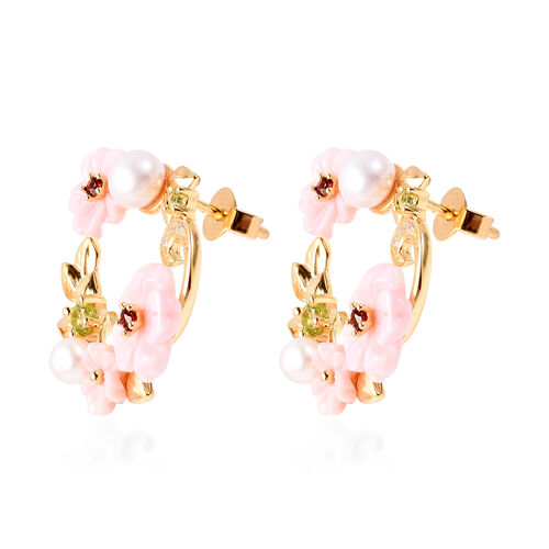 Jardin Collection - Pink Mother of Pearl, Freshwater Pearl and Multi Gemstone Floral Earrings (with Push Back) in Yellow Gold Overlay Sterling Silver