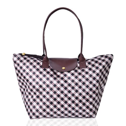 Designer Inspired - Set of 2 - Gingham Water Resistance Large Handbag (Size 45x28x27.5x17 Cm) and Small Handbag (Size 32x21x20x12.5 Cm)