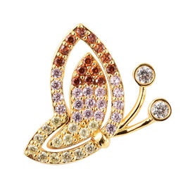 Simulated Diamond and Simulated Multigemstone  Butterfly Pendant in Yellow Gold Overlay  Sterling Si