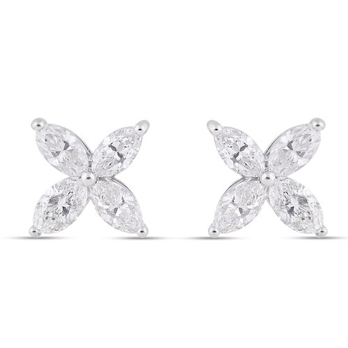 NY Close Out Deal 14K White Gold IGI Certified Natural Diamond (I1-I2/G-H) Stud Earrings (with Screw