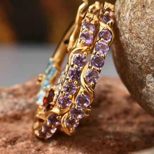 GP Amethyst (Rnd), Blue Topaz, Mozambique Garnet, Citrine and Multi Gemstone Hoop Earrings (with Clasp Lock) in 14K Gold Overlay Sterling Silver 5.250 Ct. Silver wt 13.93 Gms.
