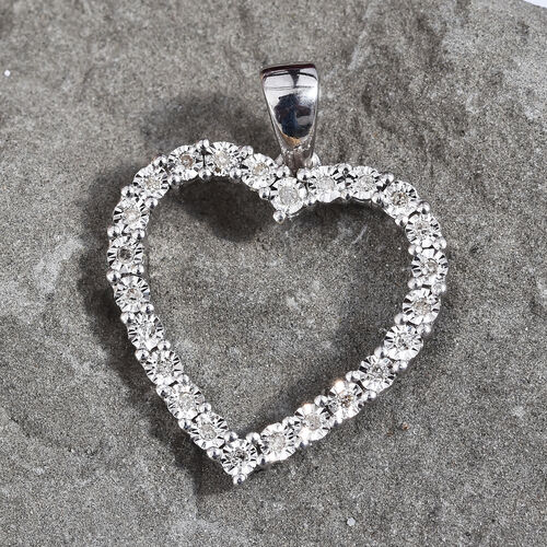 GP Diamond (Rnd), Blue Sapphire Heart Pendant in Platinum Overlay Sterling Silver 0.120 Ct