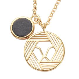 GP 3.23 Ct Black Jade and Blue Sapphire Circle Pendant in Gold Plated Silver 26 Inch
