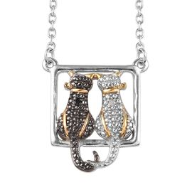 Black and White Diamond (Rnd) Twin Cat Necklace (Size 18) in Platinum Overlay Sterling Silver with B