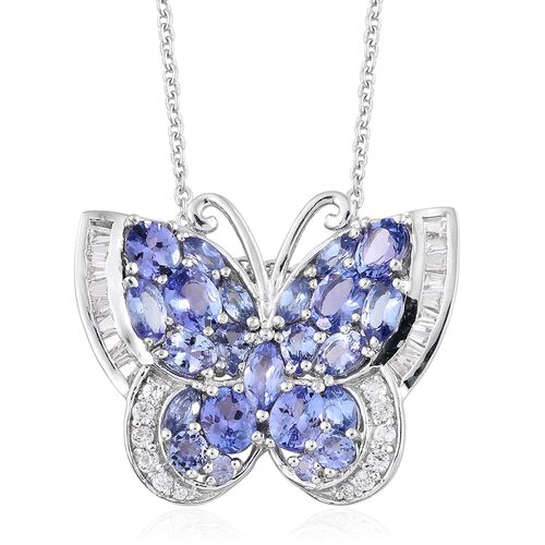Designer Inspired- Tanzanite and Natural Cambodian Zircon Butterfly Necklace (Size 18) in Platinum Overlay Sterling Silver 6.250 Ct. Silver wt 5.50 Gms.