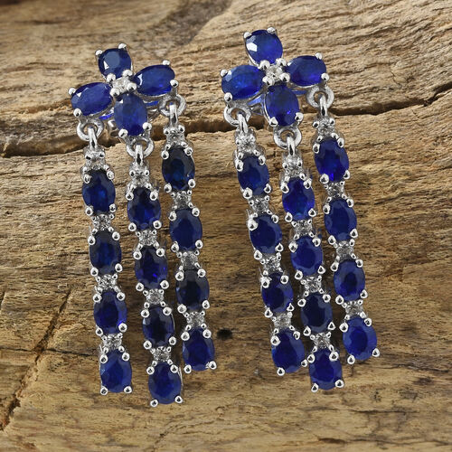 Blue Spinel (Ovl), Natural Cambodian Zircon Chandelier Earrings (With Push Back) in Platinum Overlay Sterling Silver 6.500 Ct.