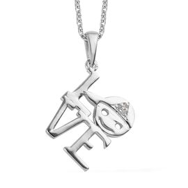 Diamond LOVE Pendant with Chain (Size 18) in Platinum Overlay Sterling Silver