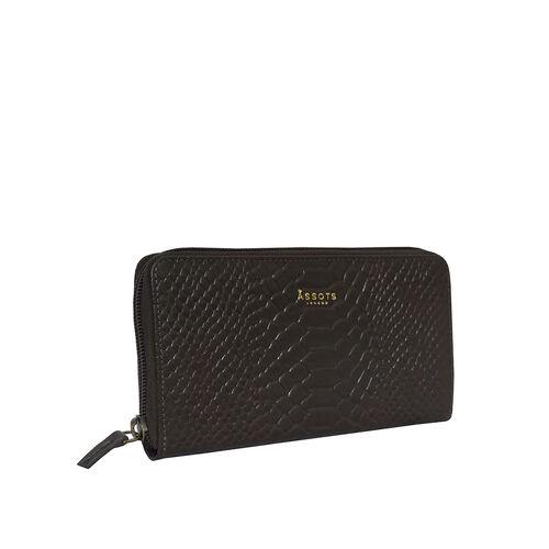 Assots London HAZEL Python Embossed Genuine Leather Zip Around Purse (Size 20x2x10) - Dark Grey