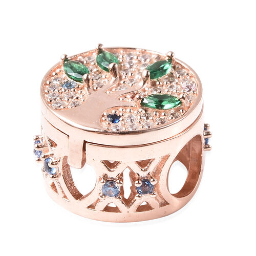 Charmes De Memoire- Simulated Emerald and Multi Colour Gemstone Openable Charm in Rose Gold Overlay Sterling Silver