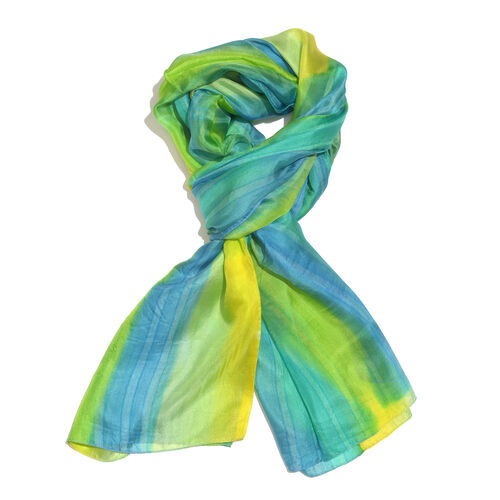 100% Mulberry Silk Blue, Green and Yellow Colour Handscreen Printed Scarf (Size 200X88 Cm) (Silk Wt.