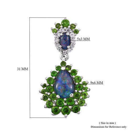 GP Boulder Opal (Pear and Ovl), Russian Diopside, Blue Sapphire and Natural Cambodian Zircon Earrings (with Push Back) in Platinum Overlay Sterling Silver, Silver wt 5.60 Gms.
