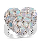 3 Carat Ethiopian Opal and Cambodian Zircon Cluster Heart Ring (Size L) in Sterling Silver 6.5 Grams