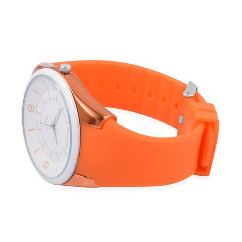 STRADA Japanese Movement White Dial Water Resistant Watch in Neon Orange Tone with Orange Colour Silicone Strap