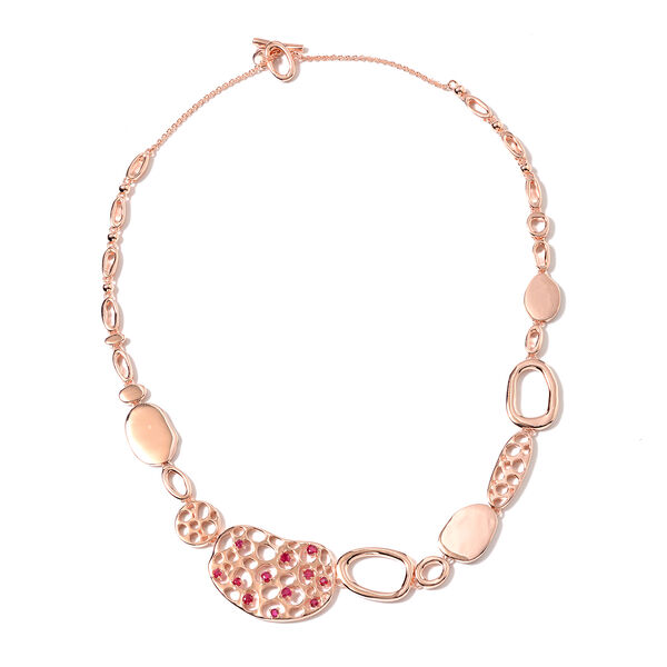RACHEL GALLEY Pebble Collection - African Ruby (FF) Necklace (Size 20) in Rose Gold Overlay Sterling