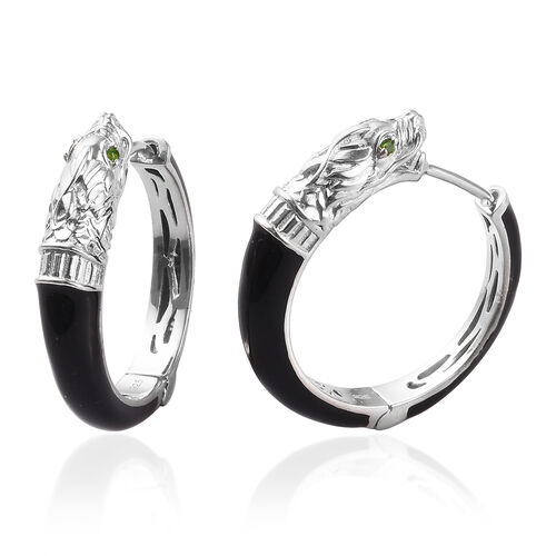 Russian Diopside Enamelled Dragon Head Hoop Earrings (with Clasp) in Platinum Overlay Sterling Silve