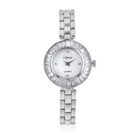 STRADA Japanese Movement White MOP Dial with White Austrian Crystal Studded and Simulated Diamond Water Resistant Watch in Silver Tone with Chain Strap