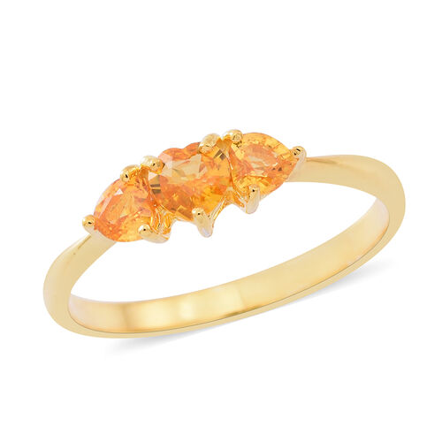Yellow Sapphire (Hrt) 3 Stone Ring in 14K Yellow Gold Overlay Sterling Silver 1.000 Ct.