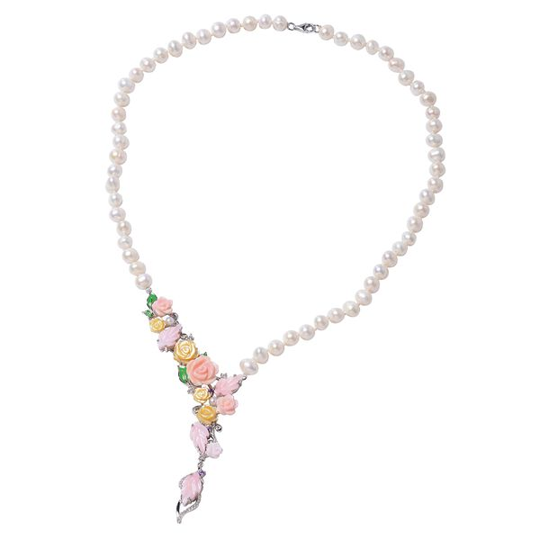 Jardin Collection - Freshwater Pearl, Pink and Yellow Mother of Pearl, Natural White Cambodian Zirco