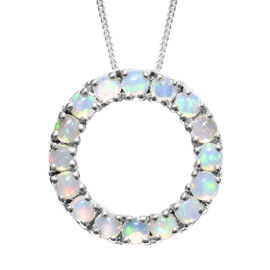Ethiopian Welo Opal (Rnd) Circle Pendant With Chain in Platinum Overlay Sterling Silver 1.500 Ct.