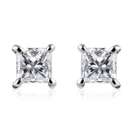 RHAPSODY 0.20 Ct Diamond Princess Cut Solitaire Stud Earrings in 950 Platinum IGI Certified VS EF